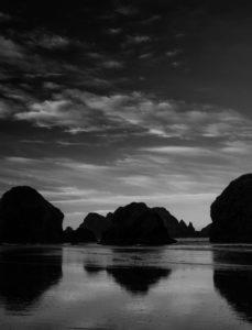monochrome image of beach